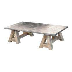 Kathy Kuo Home - Spitfire WWII Fighter Plane Top Sawhorse Coffee Table - Add something truly riveting to your eclectic decor. This fun coffee table boasts a sawhorse base and a stainless steel surface that looks like it came from a World War II fighter jet.