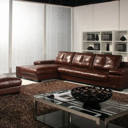 Exquisite Full Italian Leather Sectionals - Dimensions: