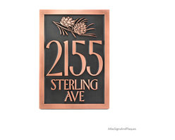 """Conifer Cone Address Plaque 14"""" x 20.5"""" in Copper Patina - Conifer Pine Cone Plaque Did you know that there are male and female cones? The females produce the seed and the male the pollen. Always the women doing all the work. Anyways, we love the shape and scales on the cone and think it is perfect for the rustic home or even the eclectic modern apartment. This on one is shown in Copper Verdi with raised lettering style but you have it your way.  Each plaque takes on a unique color variance, so all are one of a kind - just like we like it at Atlas."""