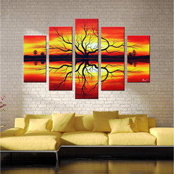 Otis Designs - 'Sunset' Hand-painted Canvas Art Set - This hand-painted canvas art set features five oil canvas paintings. Each canvas is gallery wrapped and staple-free. The built-in mounted hangers make it easy to hang these pictures right out of the package,and the sunset design brightens up all rooms.
