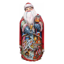 """Nestled for the Night Santa Claus Artistic Wood Carved Sculpture - Measures 14""""H x 7.5""""L x 4""""W and weighs 5 lbs. G. DeBrekht fine art traditional, vintage style sculpted figures are delightful and imaginative. Each figurine is artistically hand-painted with detailed scenes including classic Christmas art, winter wonderlands and the true meaning of Christmas, nativity art. In the spirit of giving G.DeBrekht holiday decor makes beautiful collectible Christmas and holiday gifts to share with loved ones. Every G. DeBrekht holiday decoration is an original work of art sure to be cherished as a family tradition and treasured by future generations. Some items may have slight variations of the decoration on the decor due to the hand painted nature of the product. Decorating your home for Christmas is a special time for families. With G. DeBrekht holiday home decor and decorations you can choose your style and create a true holiday gallery of art for your family to enjoy. All Masterpiece and Signature Masterpiece woodcarvings are individually hand numbered. The old world classic art details on the freehand painted sculptures include animals, nature, winter scenes, Santa Claus, nativity and more inspired by an old Russian art technique using painting mediums of watercolor, acrylic and oil combinations in the G. Debrekht unique painting style. Linden wood, which is light in color is used to carve these masterpieces. The wood varies slightly in color."""