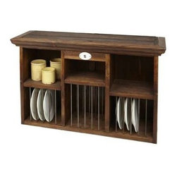 "Europe 2 You - Plate Rack - Keep your everyday plates at your fingertips or display your special decorative dishes. Either way, you will get the farmhouse or country kitchen look with this laid-back charming plate rack. Accommodates two different height plates and has additional shelving for display or storage. Topped with crown molding for a finishing touch. Try hanging this over a buffet in your dining room flanked with art or sconces. Maybe #WL255 on a rich warm paint tone. (ETY) 40"" wide x 12"" deep x 24"" high"