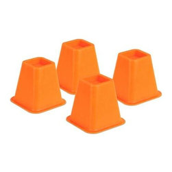 Honey Can DO - Bed Risers - Orange, Set of 4 - Create an extra 5.25 of under-the-bed-space with our bed risers. They fit posts up to 2.75 in diameter or width and each riser boasts a 350 pound weight capacity. Perfect for dorm rooms, apartments, and kids rooms, where a little extra space can go a long way. Available in orange, green, blue, pink and ivory.