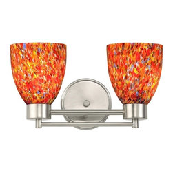 Design Classics Lighting - Modern Bathroom Light with Art Glass in Satin Nickel Finish - 702-09 GL1012MB - Contemporary / modern satin nickel 2-light bathroom light. Takes (2) 100-watt incandescent A19 bulb(s). Bulb(s) sold separately. UL listed. Damp location rated.