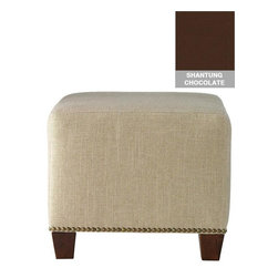 Home Decorators Collection - Custom Chandler Upholstered Ottoman - Our Custom Chandler Upholstered Ottoman is available in multiple custom upholstery options and trimmed at the bottom in metal nailheads. A perfect place to rest your feet, this square ottoman's legs are made of solid pine. Solid pine frame. Assembled to order in the USA and delivered in approximately 4-6 weeks. Fully assembled.
