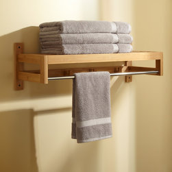 Pathein Bamboo Towel Rack With Hooks - Boasting a minimalist style, the versatile Pathein Bamboo Towel Rack features a convenient bar for draping items to dry and hooks for hanging robes.