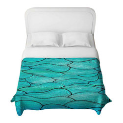 DiaNoche Designs - Sea Waves Pattern Duvet Cover - Lightweight and super soft brushed twill duvet cover sizes twin, queen, king. Cotton poly blend. Ties in each corner to secure insert. Blanket insert or comforter slides comfortably into duvet cover with zipper closure to hold blanket inside. Blanket not included. Dye Sublimation printing adheres the ink to the material for long life and durability. Printed top, khaki colored bottom. Machine washable. Product may vary slightly from image.