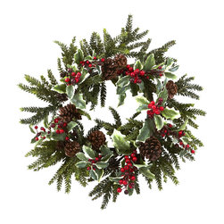 """Nearly Natural - Nearly Natural 22"""" Holly Berry Wreath - Nothing says """"fresh"""" like some crisp winter weather. And nothing captures that essence quite like this brisk and beautiful 22"""" Holly Berry Wreath. With lush, life-like pine sprigs, faux pinecones, and bursts of cheery Holly Berry, this wreath will have you singing """"Jingle Bells"""" daily. Buy one for a decoration, and one for a gift for that winter-loving person in your life."""