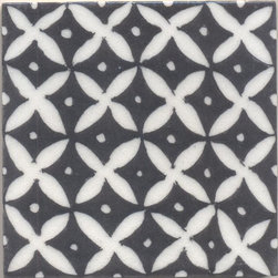 "Knobco - Tile, White Flower and Black Base - White flower and Black base Tile from Jaipur, India. Unique, hand painted tiles for your kitchen or other  tiling project. Tile is 4x4"" in size."