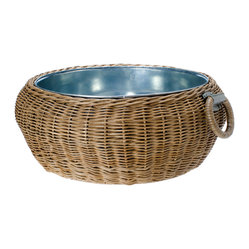 Wicker Party Bucket with Tin Tub