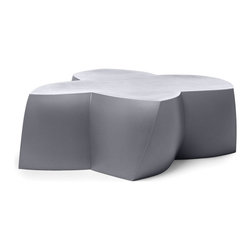 Heller - Frank Gehry Color Coffee Table, Silver - Here's some flower power to energize your indoor or outdoor room. The twisted flower shape is molded from polyethylene in your choice of eye-popping colors and is waterproof and UV-protected to keep its bloom for years to come.