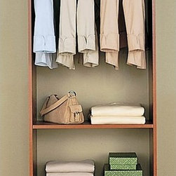 Easy Track - Easy Track Closet Cherry Hanging Tower Kit Multicolor - 2180-9041 - Shop for Closet from Hayneedle.com! The Easy Track Closet Cherry Hanging Tower Closet Kit works well alone or in tandem with other closet organization systems. With a hanging bar and adjustable shelving it's quick and easy to install and the cherry finish looks great in nearly any closet.About Easy TrackEasy Track is designed to you command your closet like never before. With a single wall-mounted rail and an endless array of cabinets hangers racks and more the Easy Track system let you put everything in its right place. Begin with a starter kit and expand from there. When your needs or space change so does your Easy Track closet system. They're great in closets from the basic to the walk-in and they also provide amazing storage solutions in laundry rooms craft rooms and more. Get Easy Track and see how simple your storage can be.