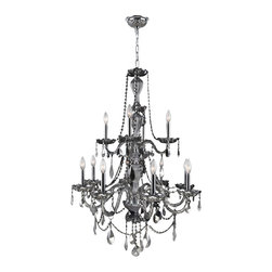 Worldwide Lighting - Worldwide Lighting W83098C28-CH Provence 12-Light Chrome Crystal Chandelier - Worldwide Lighting W83098C28-CH Provence 12-Light Chrome Finish with Chrome Crystal Chandelier