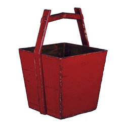 Antique Revival - Red Ming Bucket - This uniquely shaped, vintage-style, wooden Chinese water bucket is both functional and attractive. You can use it to store firewood or magazines while adding an accent piece to your living room, kitchen or sitting room.The bold red finish is slightly distressed around the corners.