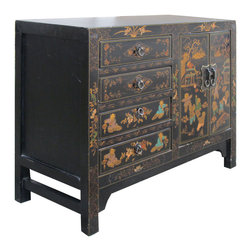 Golden Lotus - Nightstand End Table CaoZhou Happiness Kids Paint Cabinet - This CaoZhou nightstand / end table is made of solid elm wood it comes with Chinese traditional happiness kids hand painting at the front.  It was made from CaoZhou at southern of China.Origin: CaoZhou, Southern China