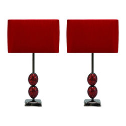 "ecWorld - Urban Designs Red Mosaic Cracked Glass 25"" Table Lamp - Set of 2 - Two red spheres of cracked mosaic glass art comprise the base of this unique table lamps. Topped by a crushed, silky, dark red shade. These fashionable lamps are an excellent accent to any room. Set includes 2 lamps."