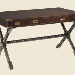 Royal Kahala Poets Crossing Writing Desk - This British-style writing desk has an elegant carved stretcher and base.