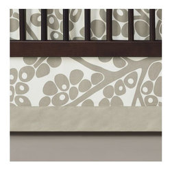 Oilo - Modern Berries Crib Skirt, Taupe - Description: 100% Woven Cotton
