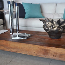 Showroom Pieces - Coffee Table in a Natural Finish with White Lacquer Gloss Legs