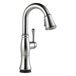"Delta - Delta 9997T-AR-DST Cassidy 1-Handle Bar/Prep Faucet w/Touch2O Arctic Stainless - Delta 9997T-AR-DST Cassidy Single-Handle Pull-Down Bar/Prep Faucet with Touch2O (Arctic Stainless). The Delta 9997T-AR-DST is part of the Cassidy Series. This beautiful kitchen faucet features a Touch-Clean Two-Function wand spout, a 62"" braided hose for smooth operation, and a lever handle for precise volume and temperature control. It comes with 32"" Innoflex supply lines with 3/8"" compression fittings, a 1.8 GPM flow rate, and a 6-3/8"" long, 15"" tall spout. It also features Delta's Touch2O technology that allows you to turn your faucet on and off with just the brush of a finger. This model comes in a brilliant, Arctic Stainless Steel finish."
