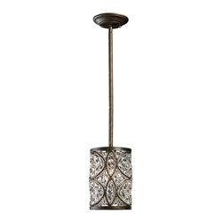 ELK Lighting - One Light Antique Bronze Drum Shade Pendant - One Light Antique Bronze Drum Shade Pendant