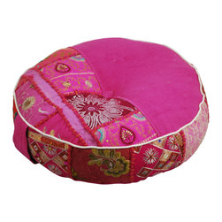 "Modelli Creations - Bohemian Khambari Meditation Cushions, Pink - These handmade meditation cushions or 'zafus' are carefully made by artisans in India and include a handle for easy carrying to and from your favorite meditation spot. 18"" diameter, 5"" thick."