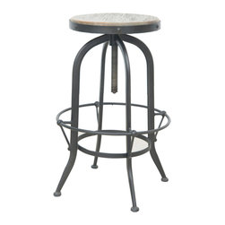 Marco Polo Imports - Amatus Bar Stool - Industrial bar stool built from sustainable reclaimed pine with a modern iron base in a rustic black finish.