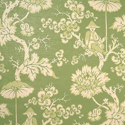 Parapluie WP88216-005 Wallpaper, Ivory/Green on Pearl Grass - Try Parapluie in the green colorway for a particularly playful foyer. I love using pink and green together in a young space, either for a young family or for kids.