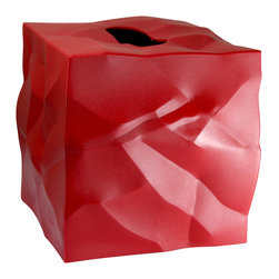 Essey of Denmark - Essey Wipy Cube Tissue Box Holder - Red - The Wipy tissue box holder measures 5x5x5 and fits all major tissue brands such as Kleenex and Puffs. Wipy comes in white, black, and red. Wipy is a perfect companion for the Essey Bin bin Waste Basket for your bathroom or other room in your home. The crumpled paper look of Bin Bin is incorporated into the styling of Wipy. Wipy was designed by John Brauer and is produced in Finland by Essey of Denmark. Wipy is made of thermoplastic elastomer.