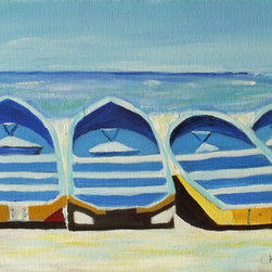 Boats At Casares 2 (Original) by Marino Chanlatte - This is painting of an arrange of boats in the beach of Casares, Nicaragua. It is an impressionist work.