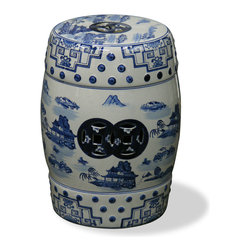 China Furniture and Arts - Blue & White Scenery Porcelain Garden Stool - Elaborately hand painted in a traditional blue and white scenery design, this porcelain stool offers sturdy seating in the bath and beyond, or serves as a handy platform next to a chair or chaise outdoors.