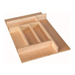 """Century Components - Century Components TTKF14PF Wood Silverware Tray Drawer Organizer, 13-7/8"""" X 22"""" - Silverware Tray Organizer  13-7/8""""W x 22""""D x 2-3/8""""H. This unit is designed to be trimmable to desired width and depth to fit the drawer size and design in your kitchen. Century Components TTKF14PF is made from solid maple wood with a clear natural finish for great appearance, quality and durability. This silverware tray features wide step downs and extra storage compartments."""
