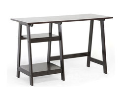 Baxton Studio - Baxton Studio Mott Dark Brown Wood Modern Desk with Sawhorse Legs (Small) - Relieve yourself from the perils of a disorganized (and unstylish!) workspace by choosing our Mott Writing Desk for home office. This modern desk is a simple design but features eye-catching sawhorse legs with built-in shelving on the left side. The contemporary desk is made with an MDF frame overlaid with very dark espresso brown rubberwood veneer. The small Mott Desk requires assembly and is made in Malaysia. To clean, dust with a dry cloth. This design is also available in a larger size (sold separately).