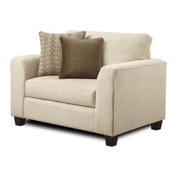 """Chelsea Home - Contemporary Camden Chair - Includes two throw pillows. Polyester upholstery in butler oyster. One pillow in frazzle twilight and others in noble mocha cover. Seating comfort: Medium. Hardwood frames nailed together for strength and durability. Attached back cushion. 1.8 density foam in cushions. Dacron wrapped and fully reversible cushions. Made in U.S.A. No assembly required. 51 in. W x 38 in. D x 34 in. H (75 lbs.)The motto of Verona VI is """"Where Style Meets Value"""". We understand the importance of the distinct, yet separate elements that the consumer as well as the retailer expects from today's manufacturers. It is our purpose driven desire to meet these expectations while forming friendships that will last for generations to come. We would love to have you as a part of our family as we strive to excel in our style, value and service. The stress points are reinforced with blocks to secure long lasting frame."""