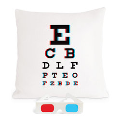 "Heather Lins Home - 3-D Eye Chart Pillow, 17"" × 17"" - Eye chart turned sight gag...3-D glasses included! The 3-D effect is achieved through anaglyph printing—cyan and red screen-printing inks that correspond with the glasses provided."
