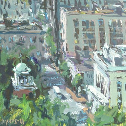 """Cityscape Painting on Canvas - 20"""" x 16"""", Acrylic on canvas. Artist Robert Joyner is well known for his expressive cityscape paintings. These paintings are widely collected throughout the world. He was hand selected by Churchill Downs to be the Official artist of the 2012 Kentucky Derby and Oaks. His images were used on all programs, posters, t-shirts and more."""