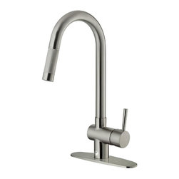 Vigo - Vigo Pull-Out Spray Kitchen Faucet w/ Deck Plate, Stainless Steel (VG02008STK1) - Vigo VG02008STK1 Pull-Out Spray Kitchen Faucet with Deck Plate, Stainless Steel