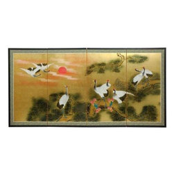 """Oriental Furniture - 36"""" Gold Leaf Sunset Cranes - Evoke images of the Orient with this soft and beautiful, hand-painted gold leaf rendition of cranes in the swirling orange sunset. Note that no two renderings are exactly the same. Subtle, beautiful hand painted wall art."""