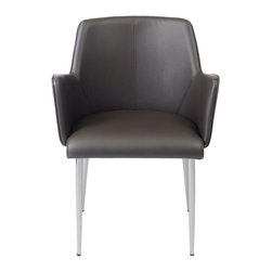 Euro Style - Euro Style Sunny Arm Chair Set of 2 17618BRN - Cozy! This is one of those chairs you can really get into. The full sided armrests wrap you up an invite you to stay. It has chromed steel frames. From what we hear, people seem to make more friends in these chairs.