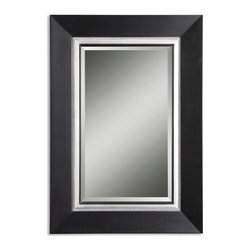 Uttermost - Whitmore Black Vanity Mirror - This wood frame has a matte black finish with a silver leaf inner liner and a gray glaze. Mirror is beveled.