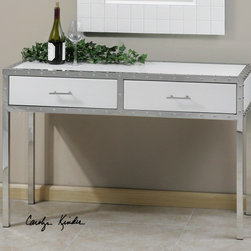 Rivet Console Table - Our Rivet Console Table has a unique, modern industrial look; a definite conversation piece! Riveted, polished chrome frames the sleek, gloss white glass top, sides and drawers. Two deep drawers provide storage for an organized entryway.