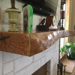 Mantels - A fireplace mantel made from a Post Oak from the customers property.