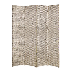 STERLING SCREEN - If you need to break up the space a little in your living room, then this screen is just what you need. In a playful metallic finish, this wood patterned screen will fit perfectly in a room with modern sensibilities.