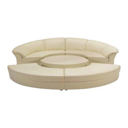 VIG Furniture - Circle Off-White Bonded Leather Circular Five Piece Sectional Sofa - The Circle sectional sofa is one of today's best examples of stylish modern furniture. This sectional comes upholstered in a beautiful off-white bonded leather in the front where your body touches. Vinyl match material is used on the back and sides where contact is minimal. High density foam is placed within the cushions for that extra added comfort. This sectional features a circular design with a five piece setup that includes ottomans that can bue pushed together to create one large sectional or extra seating.