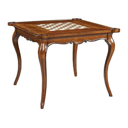 Hekman Furniture - European Legacy Card Table - Reversible inset center section. Veneer one side and game board opposite side. Warranty: One year. Made from rustic American cherry solids and veneers. Macadamia finish. Squares 2.5 in. x 2.5 in.. 38 in. W x 38 in. D x 30.25 in. H