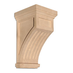 "Inviting Home - Fluted Mission Small Corbel - Maple - Mission fluted corbel in hard maple 7""H x 4-1/4""D x 4-1/4""W Corbels and wood brackets are hand carved by skilled craftsman in deep relief. They are made from premium selected North American hardwoods such as alder beech cherry hard maple red oak and white oak. Corbels and wood brackets are also available in multiple sizes to fit your needs. All are triple sanded and ready to accept stain or paint and come with metal inserts installed on the back for easy installation. Corbels and wood brackets are perfect for additional support to countertops shelves and fireplace mantels as well as trim work and furniture applications."