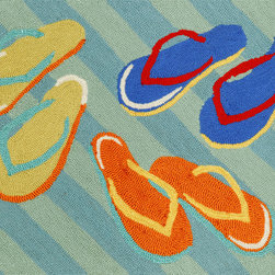 """Trans-Ocean - 20""""x30"""" Frontporch Flip Flops Blue Mat - Richly blended colors add vitality and sophistication to playful novelty designs.Lightweight loosely tufted Indoor Outdoor rugs made of synthetic materials in China and UV stabilized to resist fading.These whimsical rugs are sure to liven up any indoor or outdoor space, and their easy care and durability make them ideal for kitchens, bathrooms, and porches. Made in China."""