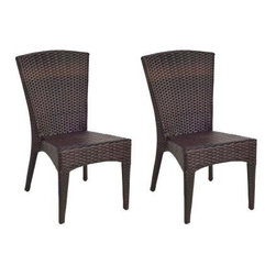 Safavieh - New Tiger Stripe Aluminum Frame Wicker Patio Side Chair (2-Pack) - Effortlessly elegant summer entertaining starts with the right furnishings. And the chic fan-back and sculptured style of the Newbury Wicker Side Chair (sold in a set of two) makes cocktails and canapes under the sun or stars a sophisticated affair. Crafted with an aluminum frame and finished in a tiger stripe pattern, Newberry freshens the look and appeal of wicker for 21st century homes. The Newberry is a great companion for your home whether in the country side or in the busy city.