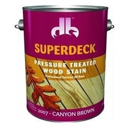 Duckback Products, Inc. - 20074 1G Canyon Brn Pres Treat - SUPERDECK PRESSURE TREATED EXTERIOR STAIN  One coat system - transparent stain  High solids, oil-based penetrating stain  Inhibits mold, mildew and sun damage  For use on exterior pressure treated and -  non-treated wood surfaces, such as decks, -  fences, siding, furniture, etc.  250 VOC      20074 1G CANYON BRN PRES TREAT  Size:1 Gal.  Color: Canyon Brown