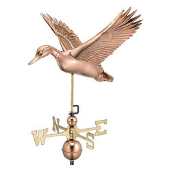 Good Directions, Inc. - Good Directions Flying Duck Weathervane - Polished Copper - Gently gliding through the sky, this duck is looking for a place to migrate: preferably the rooftop of your house, barn, garage, or cupola. Our Good Directions artisans use Old World techniques to handcraft this fully functional, standard-size weathervane that's unsurpassed in style, quality and durability. A great gift for wildlife enthusiasts!